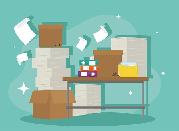 Documents en boîte sur des papiers de bureau