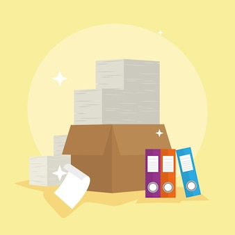 Documents dans la boîte et la paperasse des livres