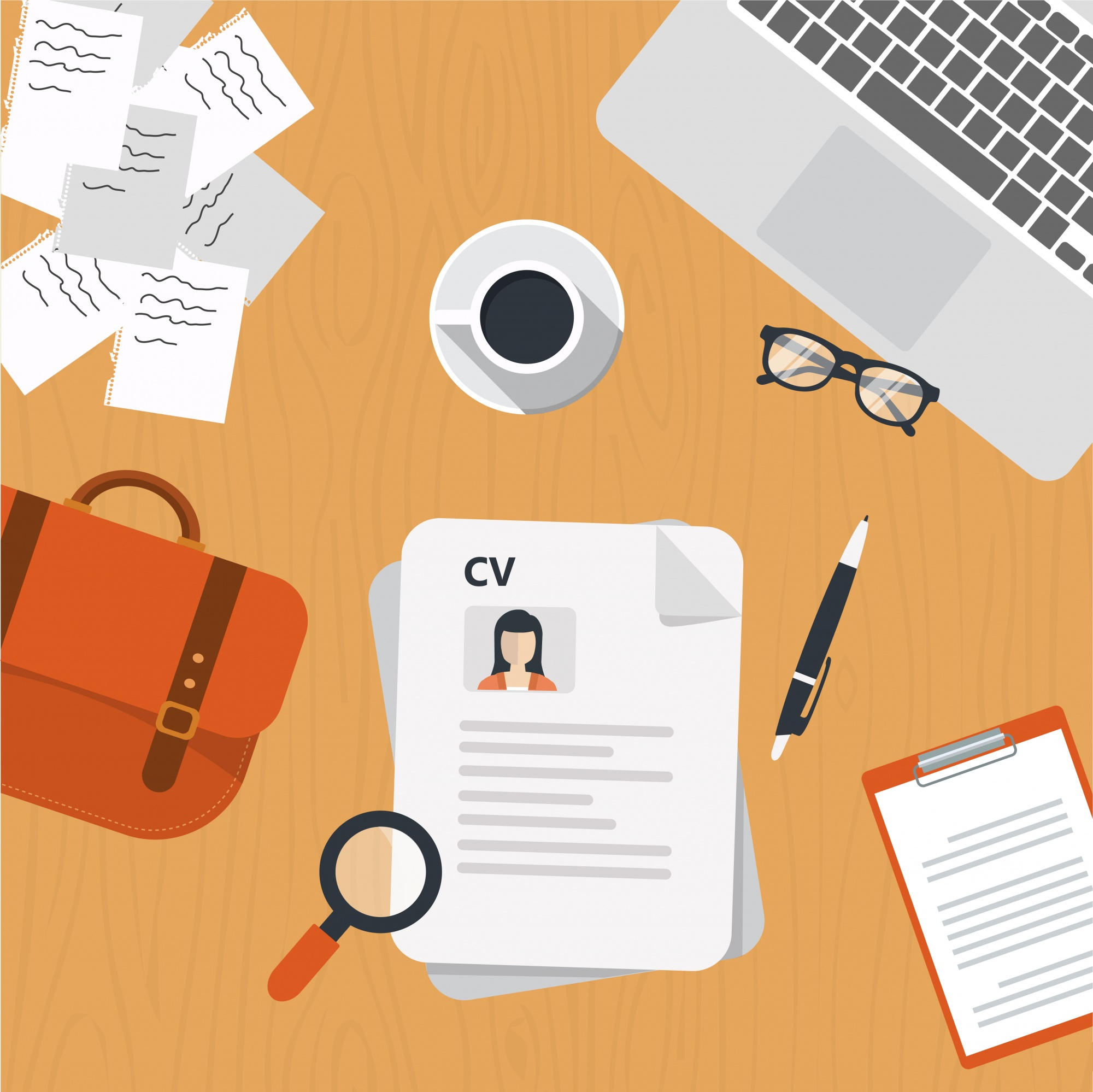 Documents de CV sur le bureau