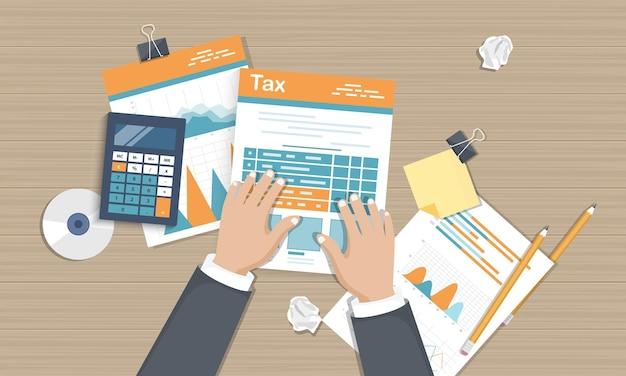 Documents de paiement de la taxe, vue de dessus