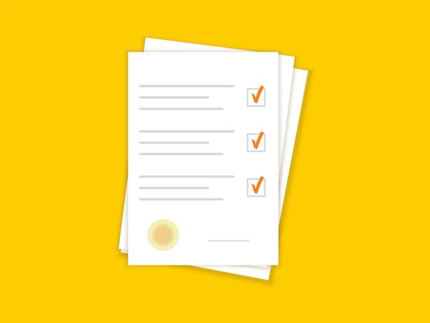 Documents papier. accord et contrat avec cachet. liste de contrôle. design plat.