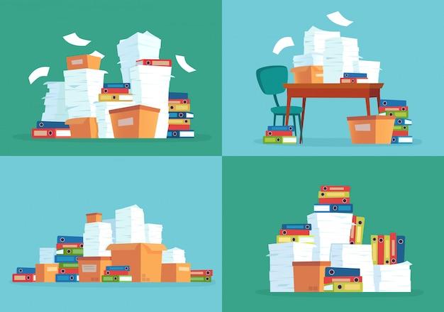 Documents papier de bureau, tas de papiers de travail, dossiers de documents et fichiers de documentation de paperasse empiler ensemble de dessin animé