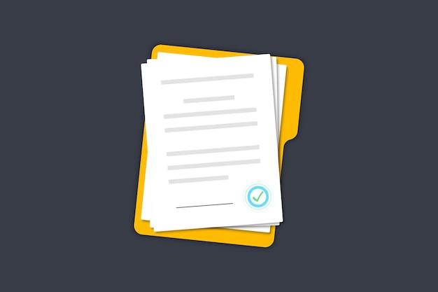 Documents papiers contrat dossier avec tampon et texte accords document