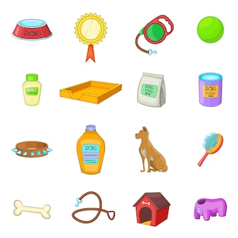 Dog care icons set