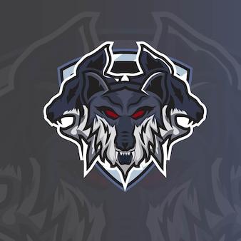 Dog head esport mascot logo pour vecteur gratuit de jeu esport et de sport premium
