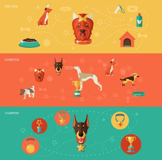 Dog icons banner set with dog care exposition champion isolé illustration vectorielle