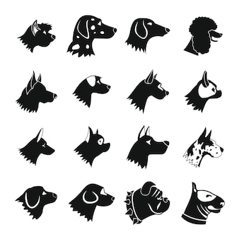 Dog icons set, style simple