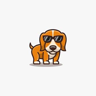 Dogy cute pose avec des lunettes illustration.