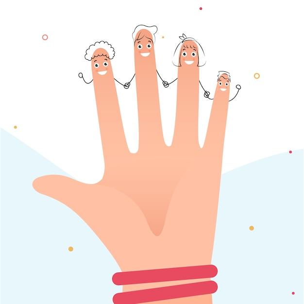 Doigts drôles tenant les mains ensemble
