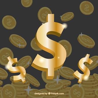 Dollar 3d signe d'or