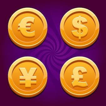 Dollar, euro, livre et yen, cos en or