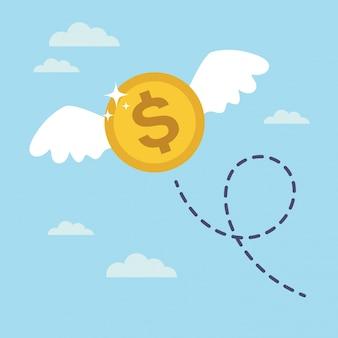 Dollar pièce avec des ailes qui volent dans le ciel. concept d'argent perdu