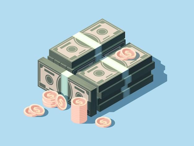 Dollars et pièces de monnaie. pile d'argent comptant en vue isométrique
