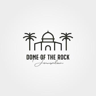 Dôme de la conception d'illustration de symbole de vecteur de logo minimal de roche