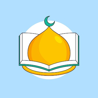 Dôme de la mosquée à l'intérieur de l'illustration du livre pour la conception de vecteur de modèle de logo de la fondation de l'éducation musulmane