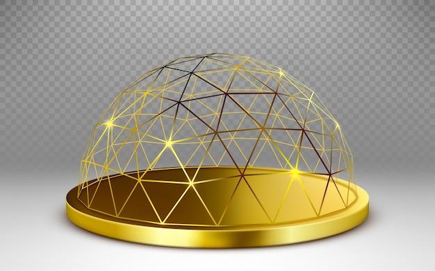Dôme de sphère dorée de vecteur isolé sur fond transparent.