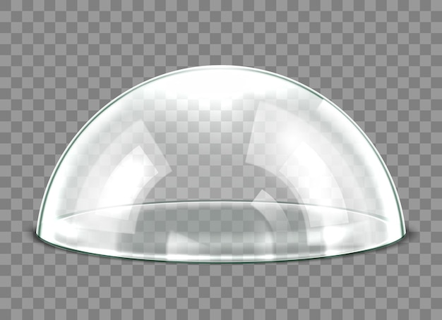 Dôme en verre isolé sur fond transparent. couvercle de dôme en verre sphérique détaillé 3d réaliste. illustration vectorielle