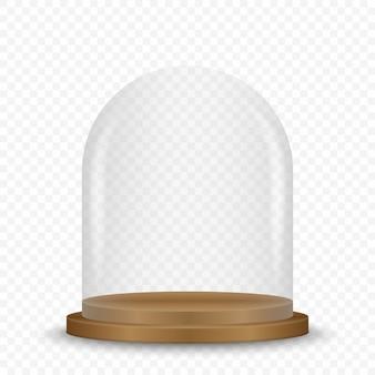 Dôme en verre transparent sur podium.