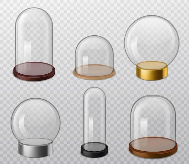 Dômes en verre. dôme transparent rond brillant réaliste avec plateau, récipient de stockage de nourriture, sphère vide pour le laboratoire de produits de présentation et les cas d'exposition vecteur 3d sur fond transparent