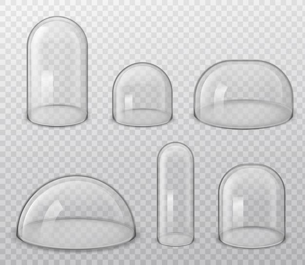 Dômes en verre. forme brillante sphérique et hémisphère réaliste de différentes tailles, étuis de laboratoire et d'exposition, ensemble de vecteur de couverture de poussière isolé sur fond transparent