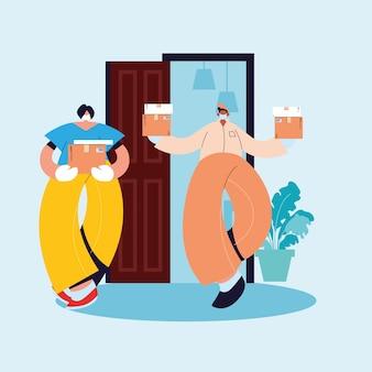 Domiciliaire livrant un colis à une femme, avec des gants et des masques