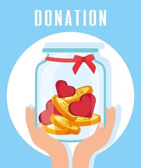 Don de charité mains soulevant le pot avec des coeurs et des pièces