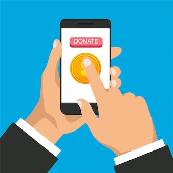 Don dans le téléphone. l'homme fait un don, donne de l'argent en ligne. smartphone avec pièce d'or et bouton à l'écran.