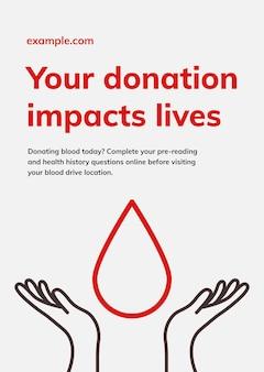 Le don a un impact sur les vies modèle vecteur affiche publicitaire pour la santé