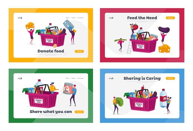 Don de nourriture, ensemble de modèles de page de destination de l'aide humanitaire
