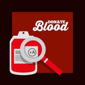 Don de sang iv sac loupe en plastique affiche