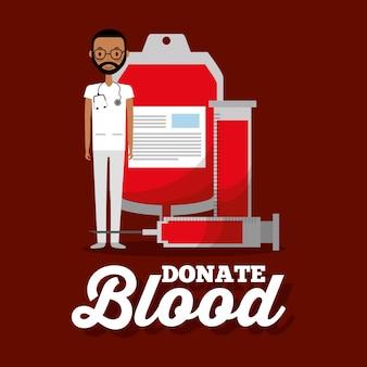 Don de tube à essai de seringue de sac de sang de docteur