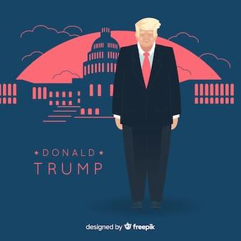 Donald trump personnage avec un design plat