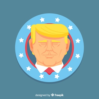 Donald trump portrait avec design plat