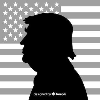 Donald trump portrait avec style silhouette