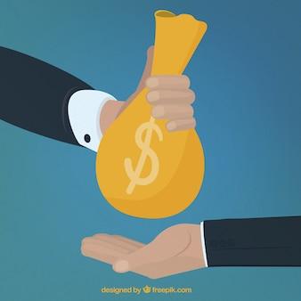 Donnant de l'argent à la main d'autre part