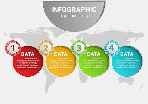 Données commerciales infographiques. processus de présentation chart.diagram avec modèle d'étapes.