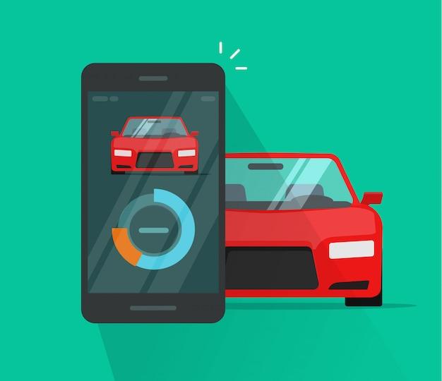 Données de diagnostic système smart automobile et téléphone mobile tableau de bord ou bande dessinée plat de contrôle vector illustration sans fil