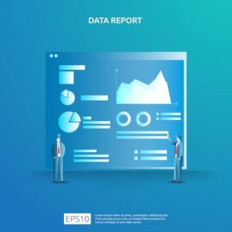 Données graphiques numériques pour l'analyse seo et stratégique avec caractère. informations statistiques, document de rapport d'audit financier, recherche marketing pour le concept de gestion d'entreprise.