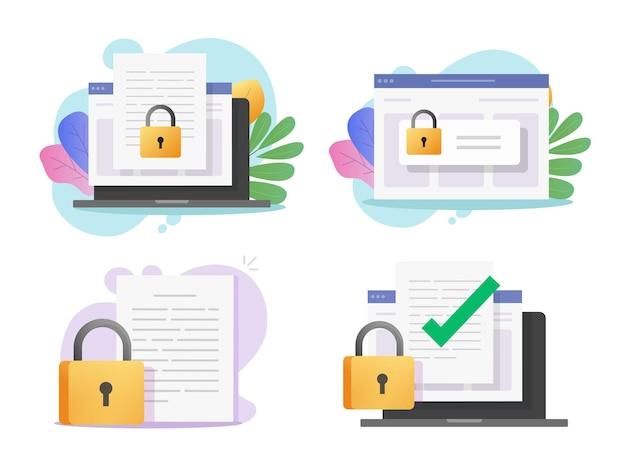 Données informatiques numériques en ligne sécurisées confidentielles sur document électronique et accès protégé secret