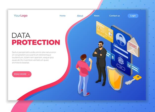 Données personnelles cyber internet et sécurité bannière de protection téléphone avec protection des données confidentielles bouclier gardien de sécurité badge de héros formulaire de connexion antivirus piratage isométrique illustration vectorielle isolée