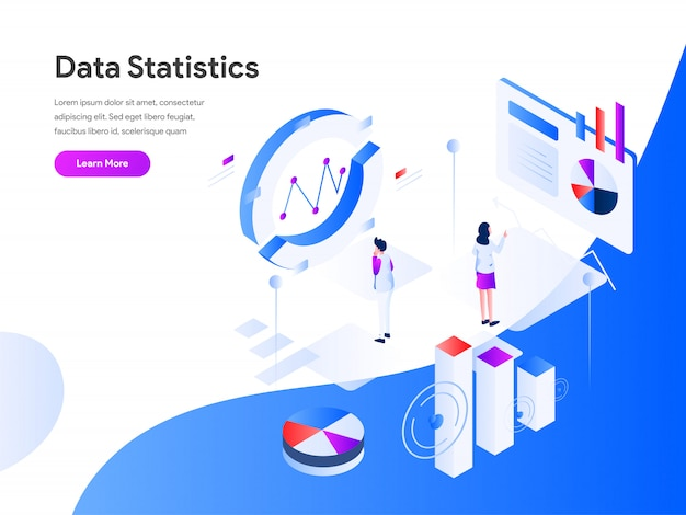 Données statistiques bannière web isométrique