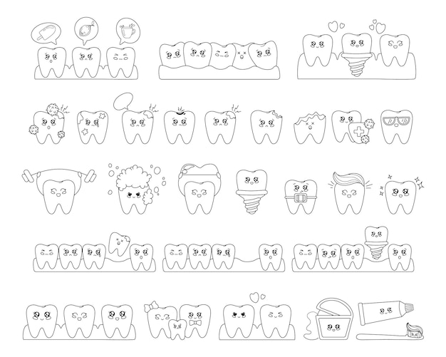 Donner un aperçu des dents kawaii avec emodji, soins dentaires, dentisterie