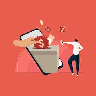 Donner de l'argent par paiement en ligne. concept de collecte de fonds de bienfaisance