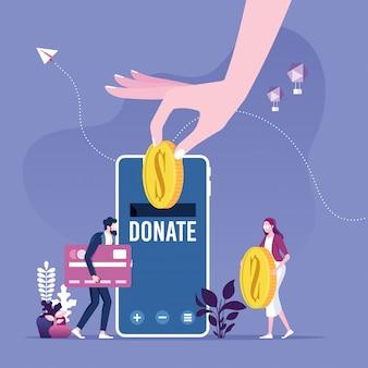 Donner de l'argent par des paiements en ligne. concept de collecte de fonds de charité.