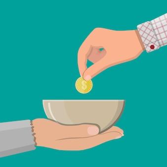 Donner une pièce d'or à une autre main
