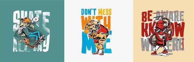 Dont mess with me poster illustration vectorielle de croquis dessinés à la main