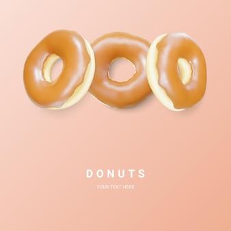 Donut brun isolé sur fond clair. beignets au chocolat colorés. divers beignets glacés. illustration vectorielle.