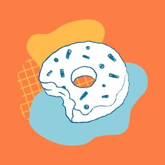 Donut cafe design element funky illustration vecteur
