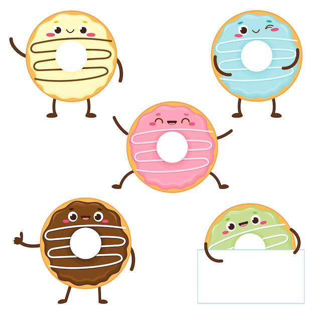 Donut coloré mignon de bande dessinée sertie de visage heureux