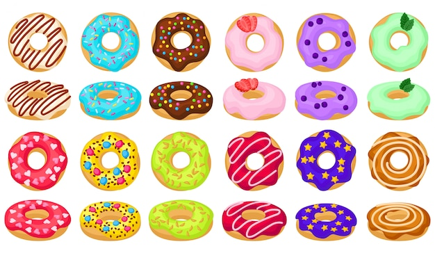 Donut, dessin animé, ensemble, illustration, de, icon., isolé, collection, illustration, dessin animé, de, beignet, blanc, fond. définir l'icône de beignet au chocolat.